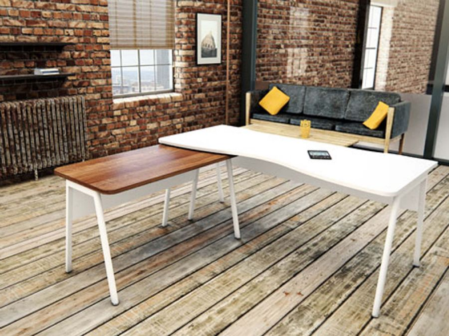 ASCEND DOUBLE WAVE OFFICE DESK 1800 + RE...