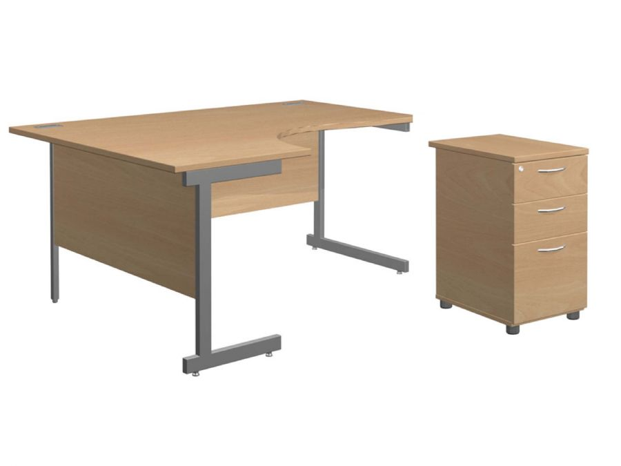SOLAR DESK & PEDESTAL BUNDLE LH