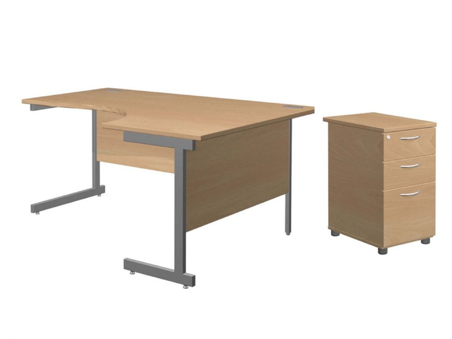 SOLAR DESK & PEDESTAL BUNDLE RH